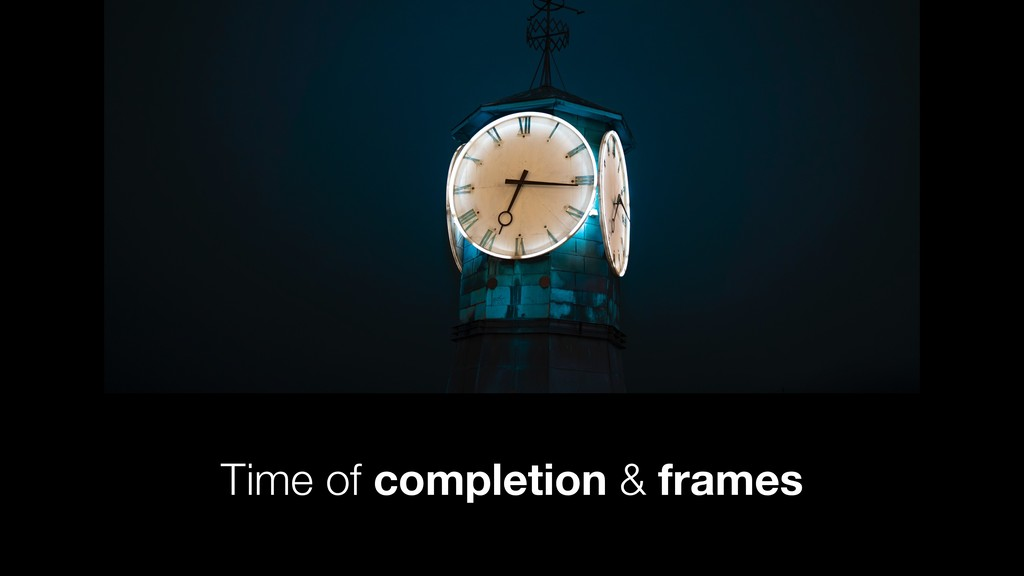 Time of completion & frames