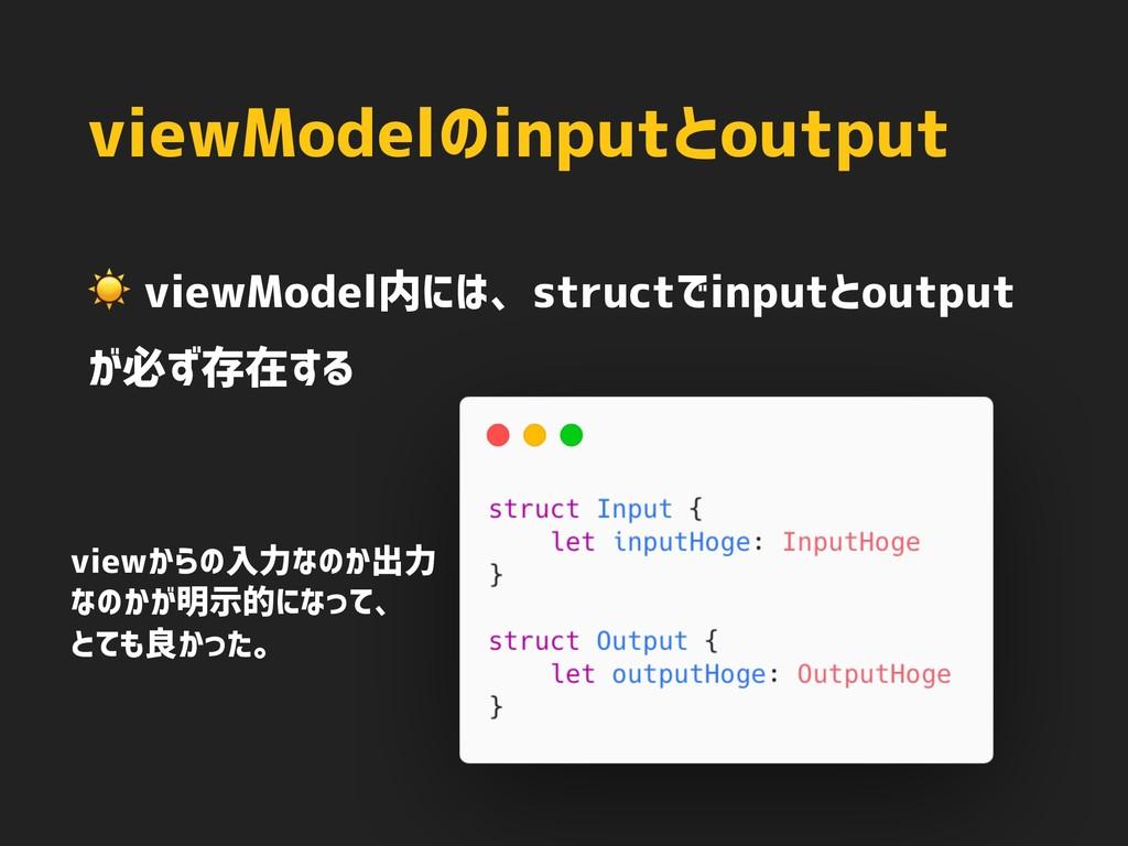 viewModelのinputとoutput ☀ viewModel内には、structでin...