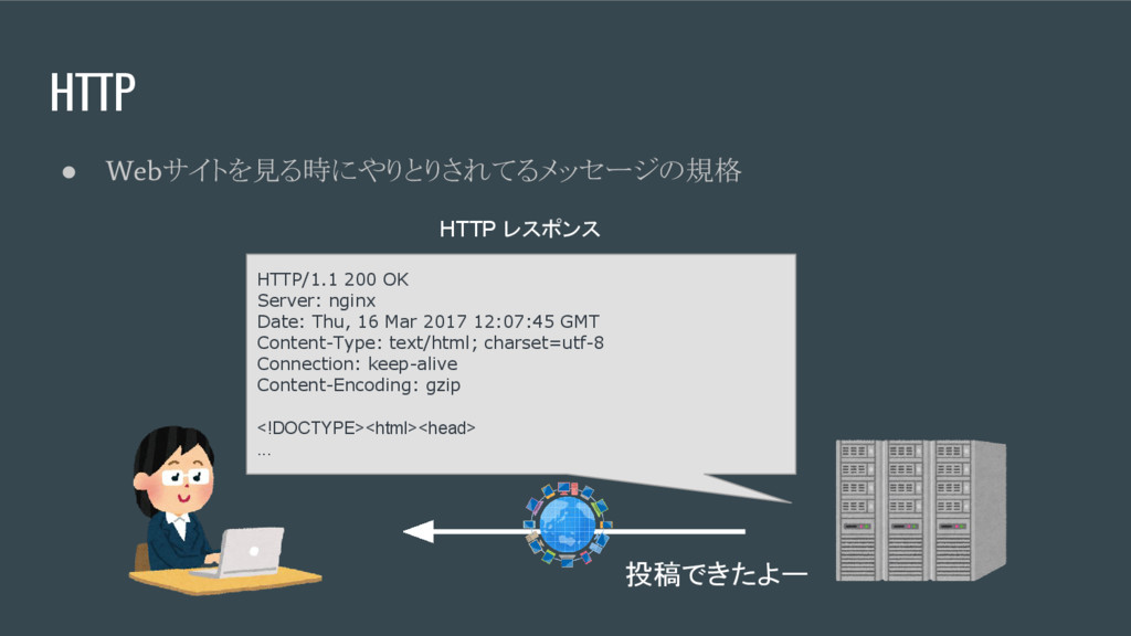 HTTP ● Web サイトを見る時にやりとりされてるメッセージの規格 HTTP/1.1 20...