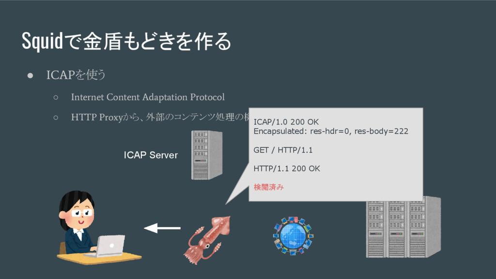 Squidで金盾もどきを作る ● ICAP を使う ○ Internet Content Ad...
