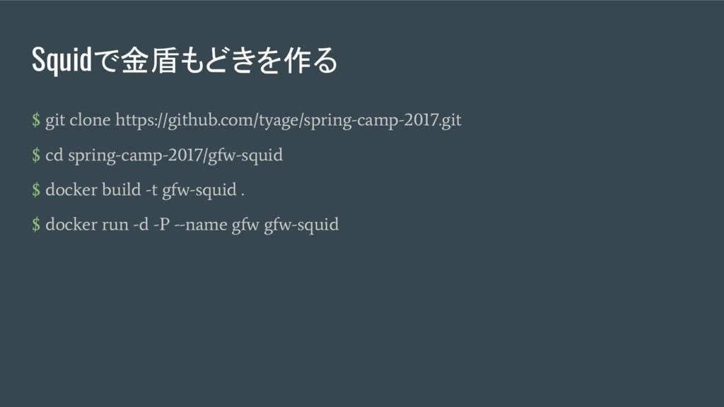 Squidで金盾もどきを作る $ git clone https://github.com/t...