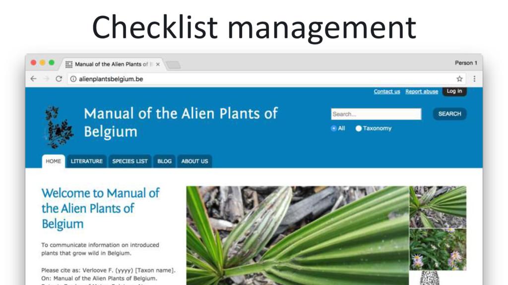 Checklist management
