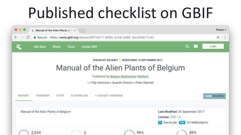 Published checklist on GBIF