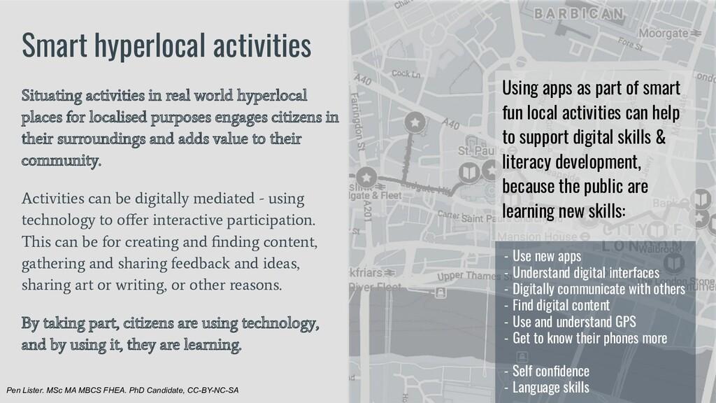 Smart hyperlocal activities Situating activitie...