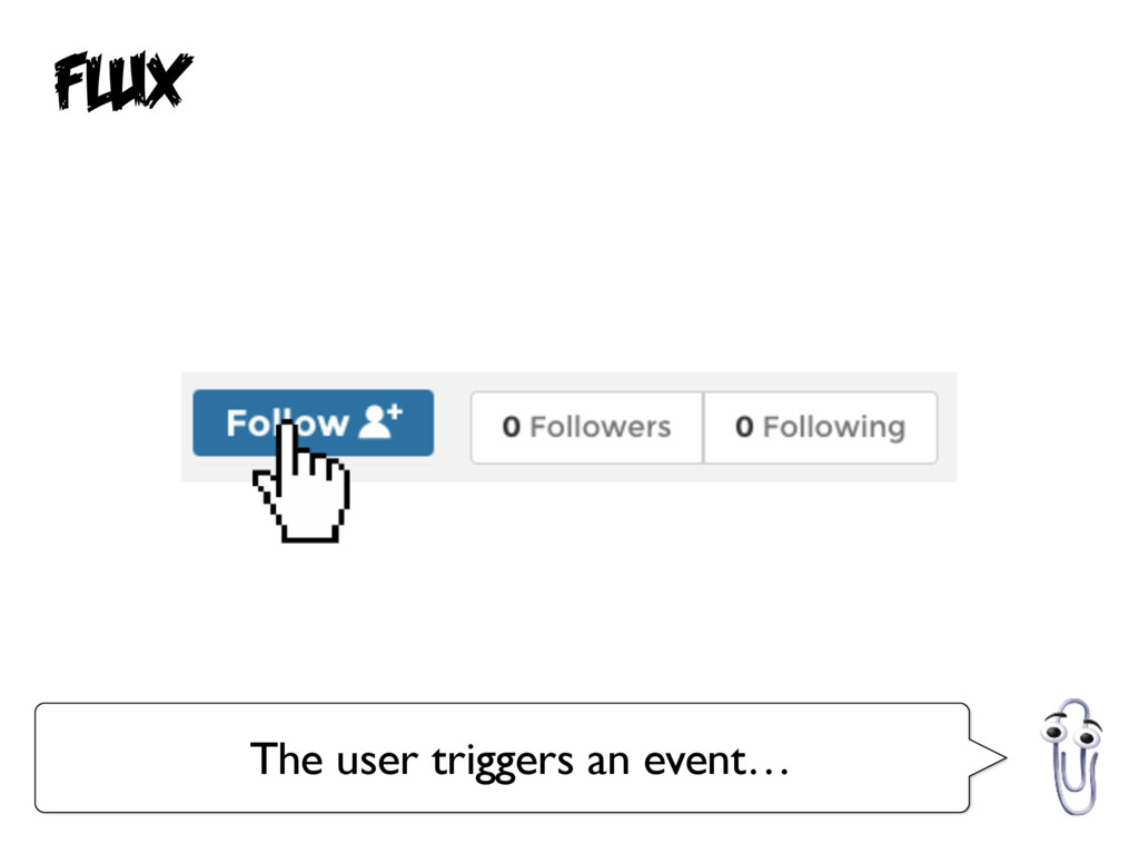 Flux The user triggers an event…
