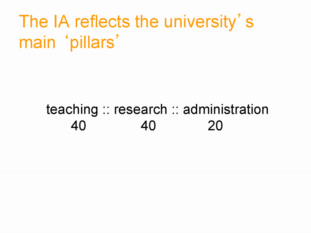 The IA reflects the university`s main bpillars`...