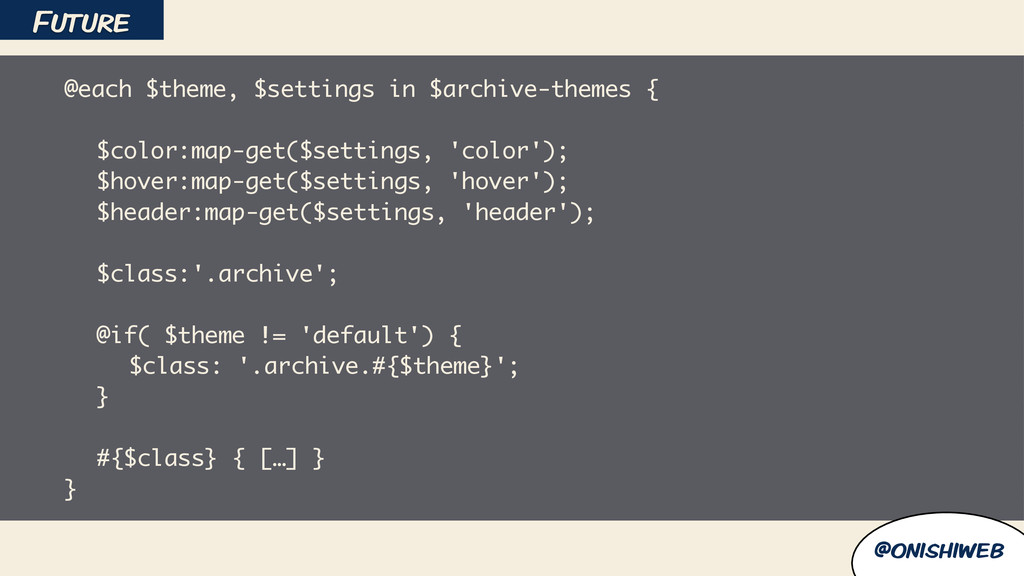@onishiweb @each $theme, $settings in $archive-...