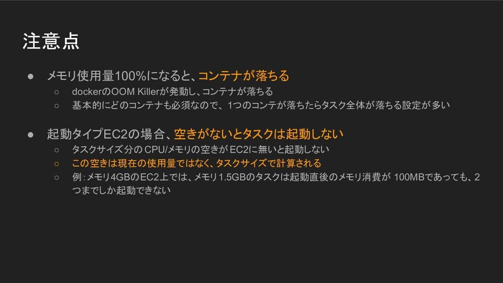 注意点 ● メモリ使用量100%になると、コンテナが落ちる ○ dockerのOOM Kill...