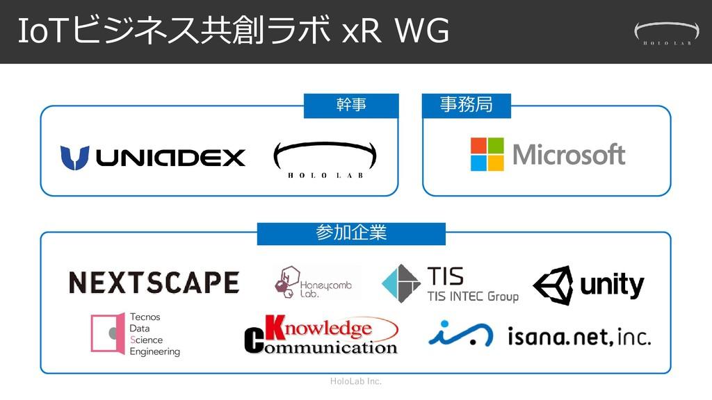 IoTビジネス共創ラボ xR WG HoloLab Inc. 幹事 事務局 参加企業
