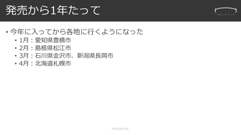 発売から1年たって • 今年に入ってから各地に行くようになった • 1月:愛知県豊橋市 • 2...