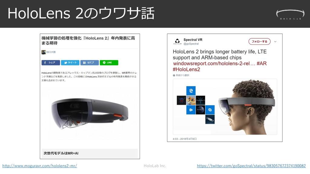 HoloLens 2のウワサ話 HoloLab Inc. http://www.mogurav...