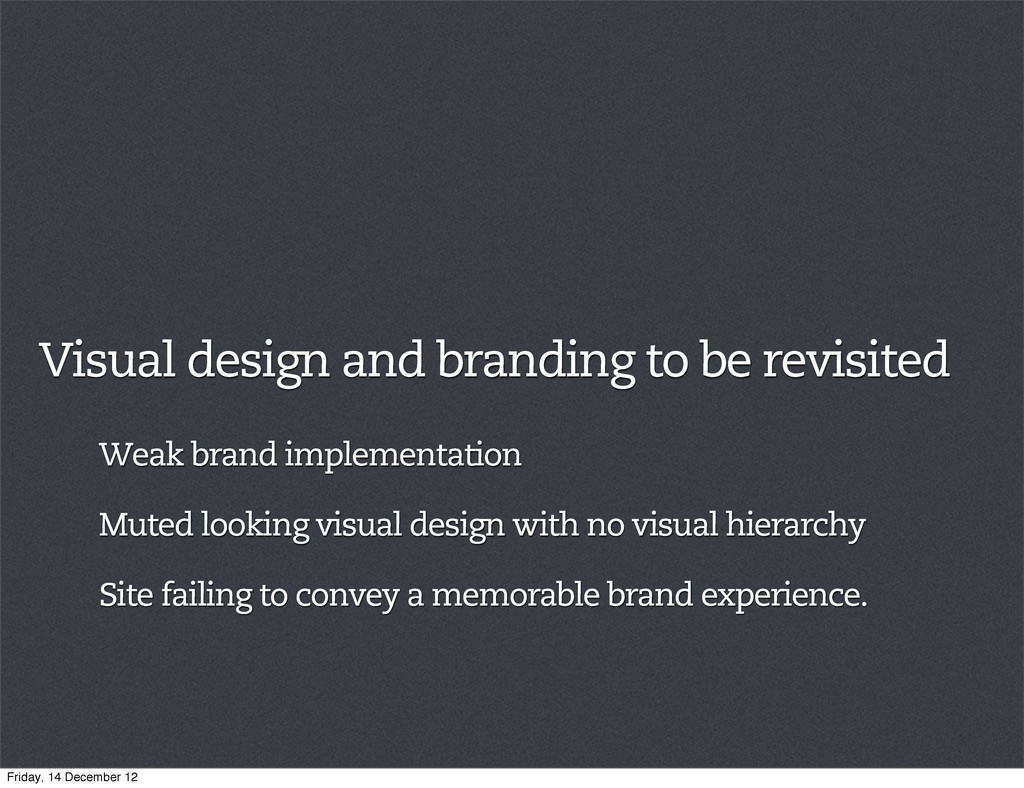 Visual design and branding to be revisited Weak...