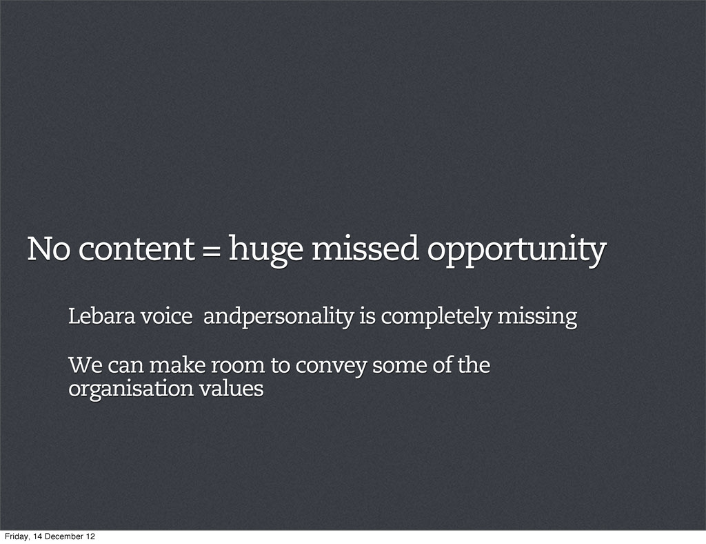 No content = huge missed opportunity Lebara voi...