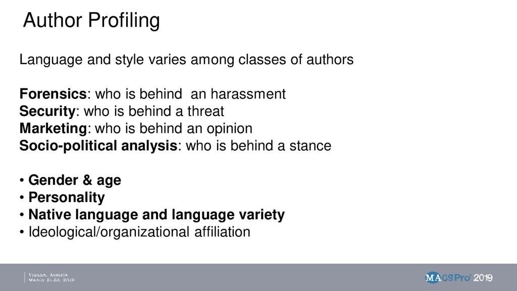 Author Profiling Language and style varies amon...