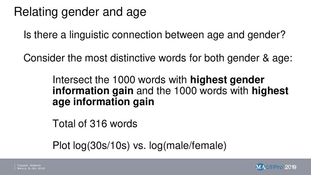 Relating gender and age Is there a linguistic c...