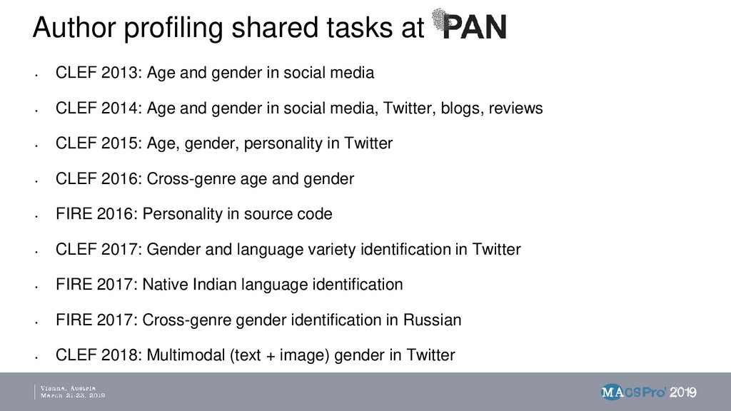 Author profiling shared tasks at • CLEF 2013: A...