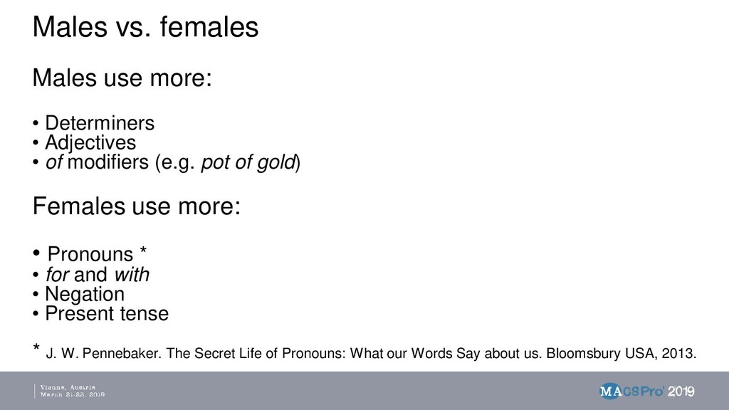 Males vs. females Males use more: • Determiners...