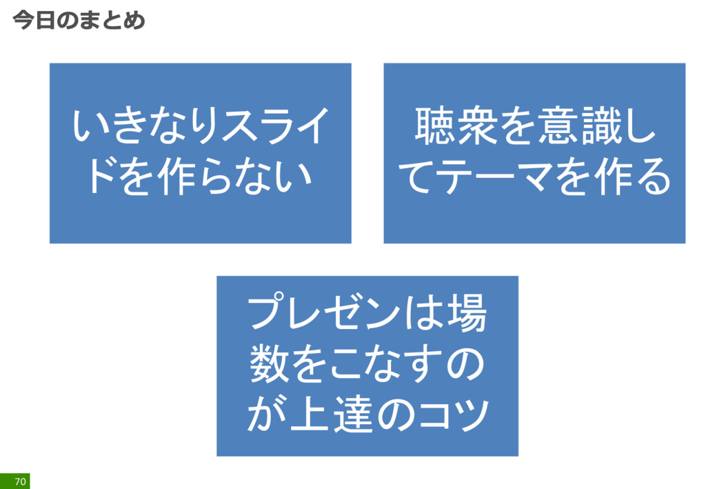 70 いきなりスライ ドを作らない 聴衆を意識し てテーマを作る プレゼンは場 数をこなすの ...