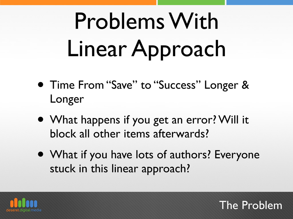 The Problem Problems With Linear Approach • Tim...