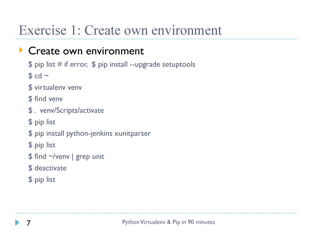 Exercise 1: Create own environment Python Virtu...
