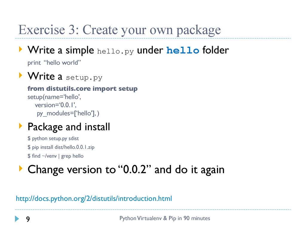 Exercise 3: Create your own package  Write a s...