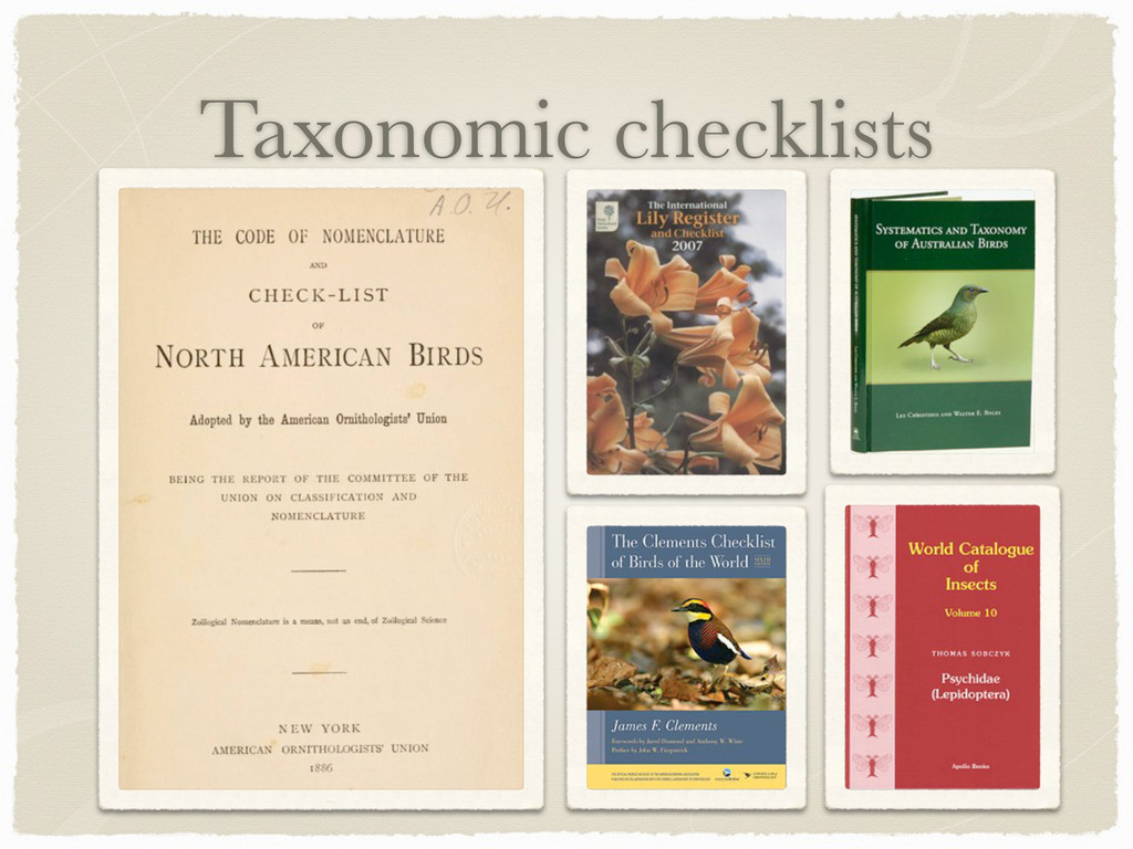 Taxonomic checklists