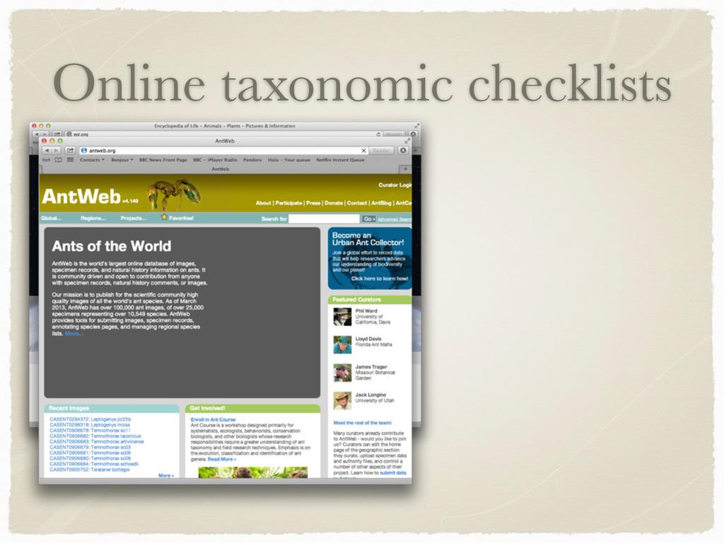 Online taxonomic checklists