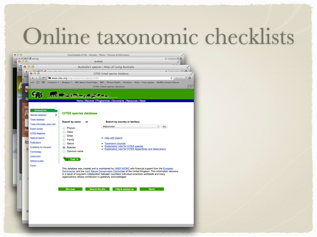 Online taxonomic checklists