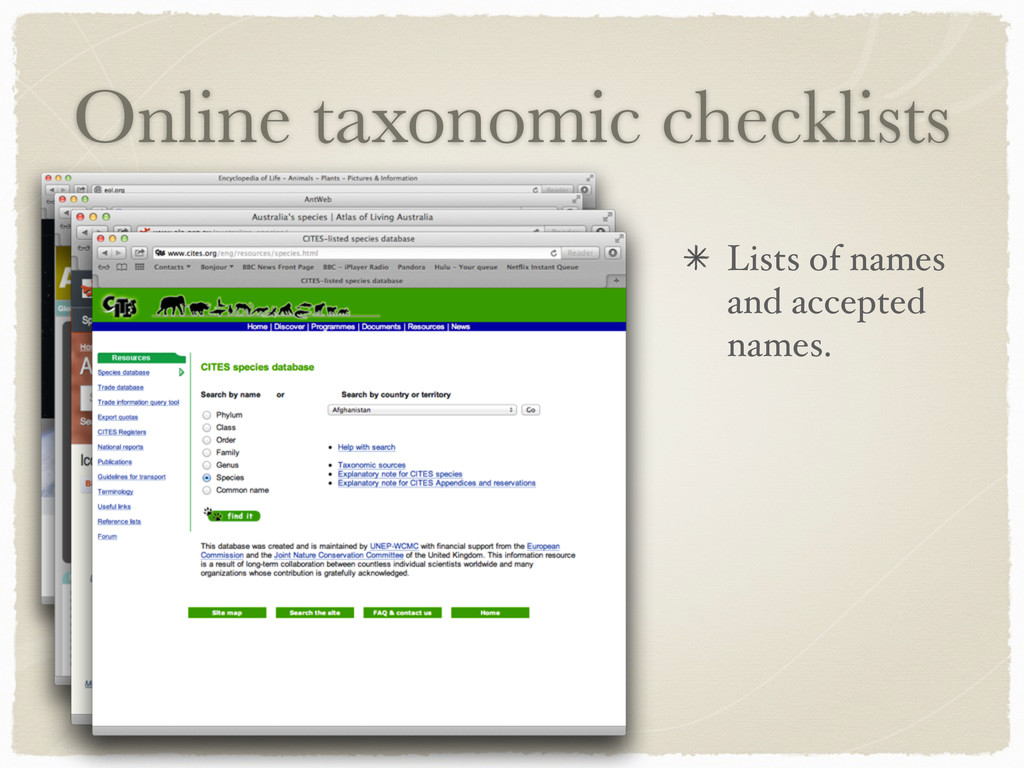 Online taxonomic checklists Lists of names and ...