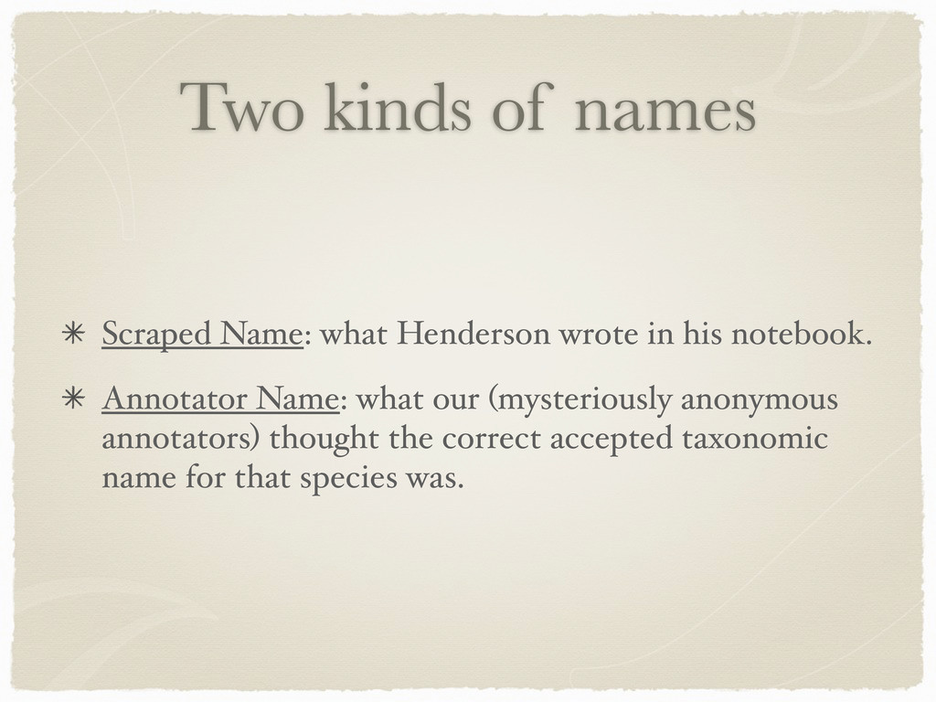 Two kinds of names Scraped Name: what Henderson...