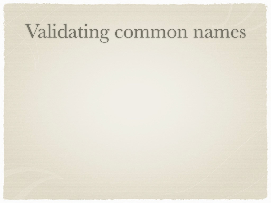 Validating common names