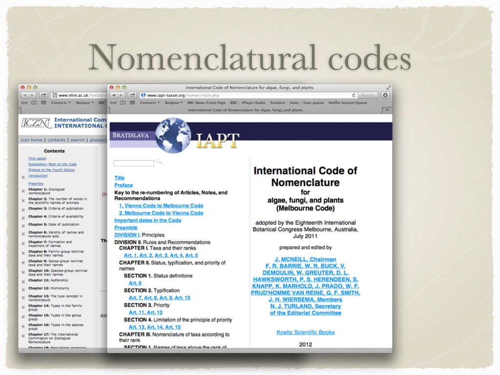 Nomenclatural codes