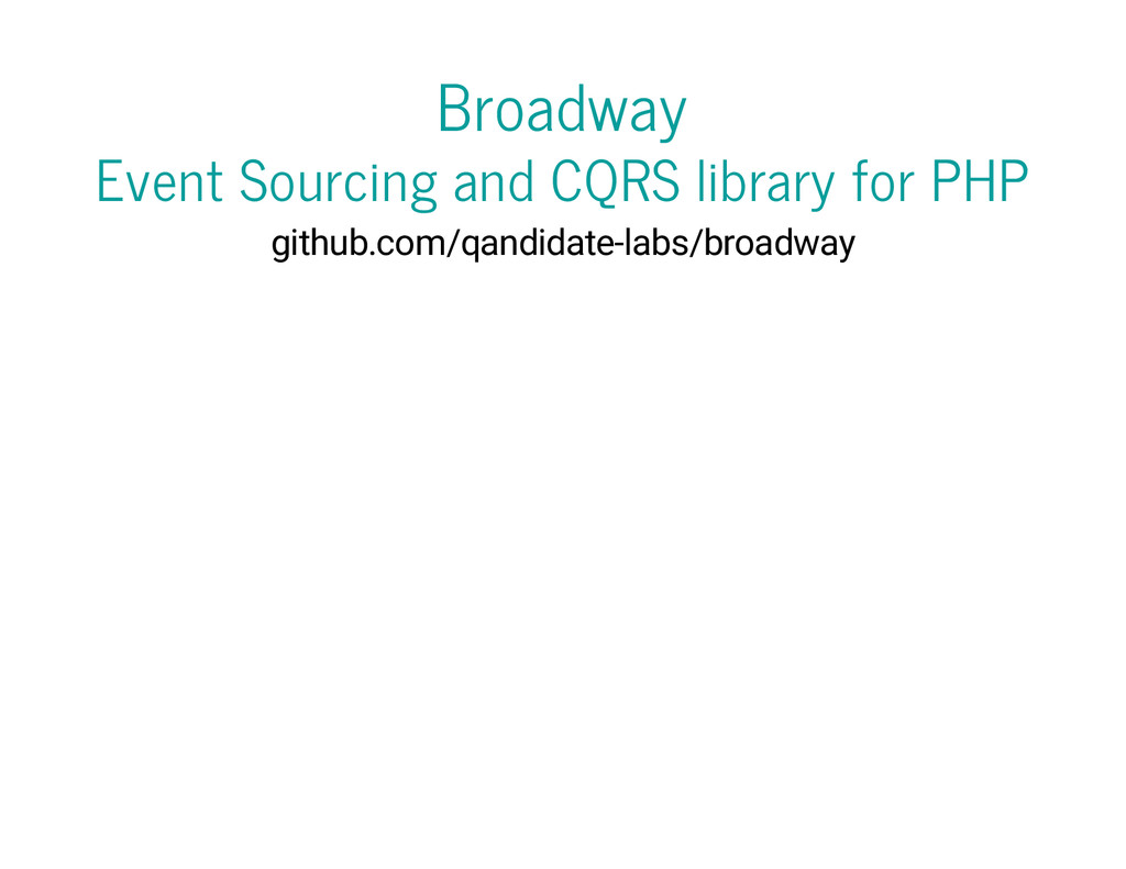 Broadway Event Sourcing and CQRS library for PH...