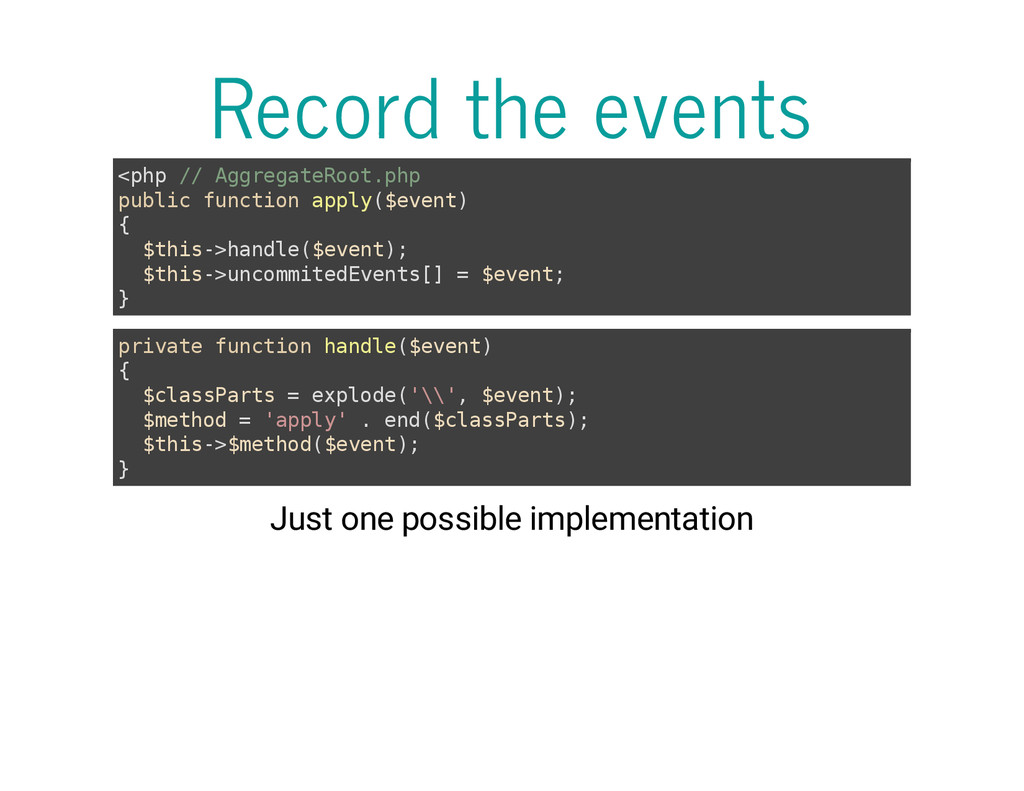 Record the events < p h p / / A g g r e g a t e...