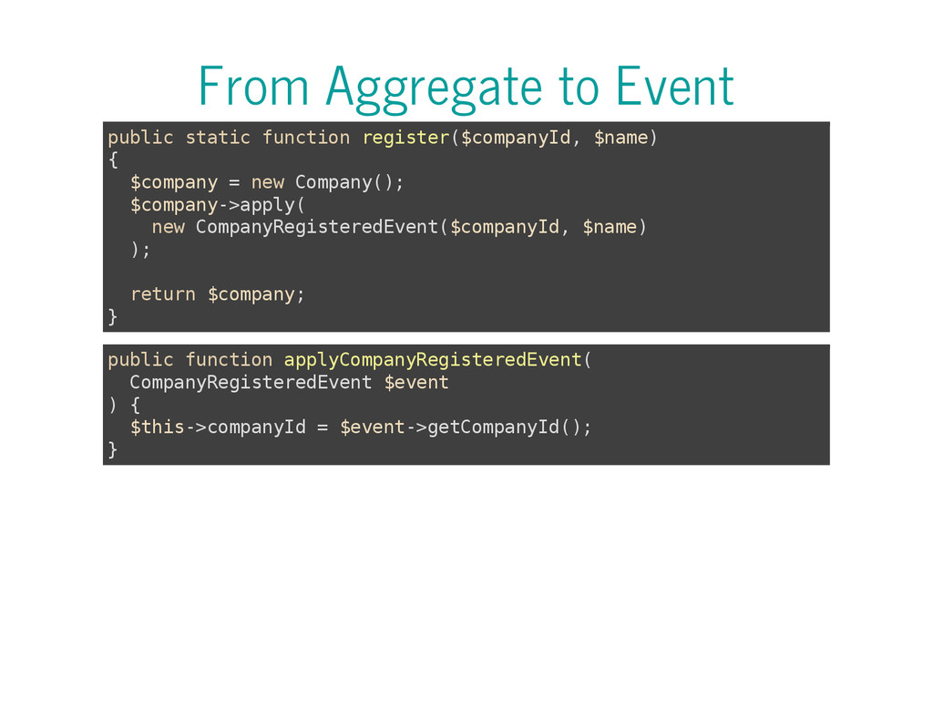 From Aggregate to Event p u b l i c s t a t i c...