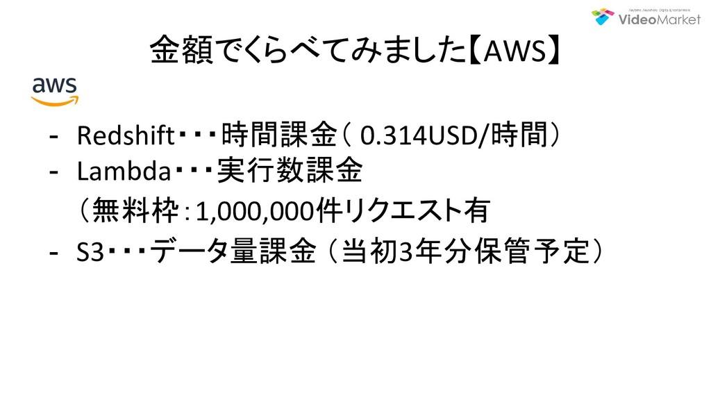 金額でくらべてみました【AWS】 - Redshift・・・時間課金( 0.314USD/時間...