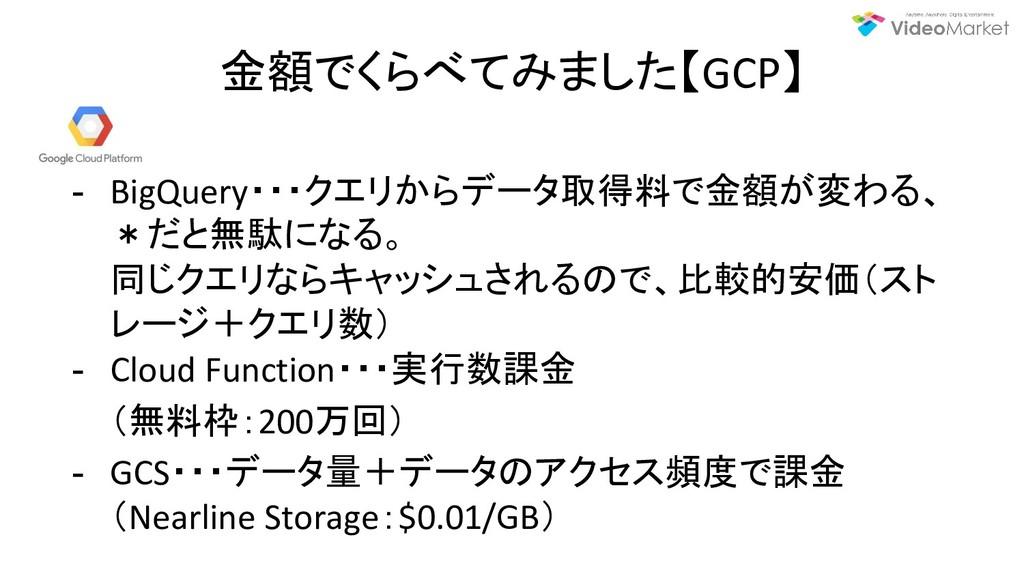 金額でくらべてみました【GCP】 - BigQuery・・・クエリからデータ取得料で金額が変わ...