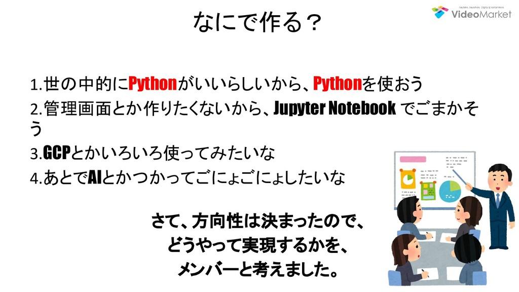なにで作る? 1.世の中的にPythonがいいらしいから、Pythonを使おう 2.管理画面と...