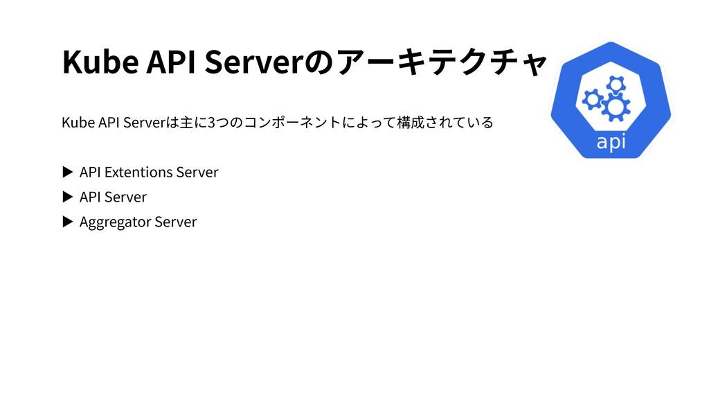 Kube API Serverのアーキテクチャ Kube API Serverは主に3つのコン...
