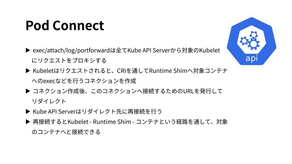 Pod Connect ▶ exec/attach/log/portforwardは全てKub...