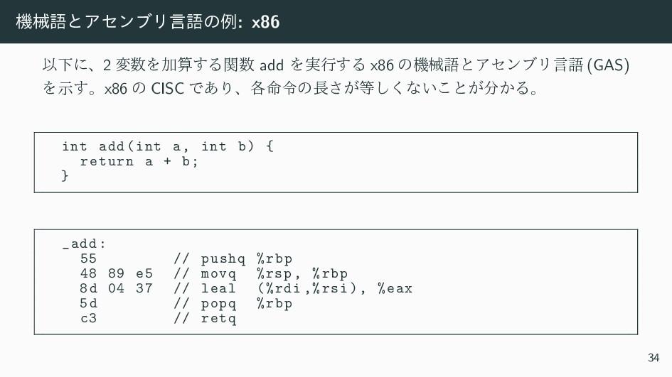 ػցޠͱΞηϯϒϦݴޠͷྫ: x86 ҎԼʹɺ2 มΛՃ͢Δؔ add Λ࣮ߦ͢Δ x8...