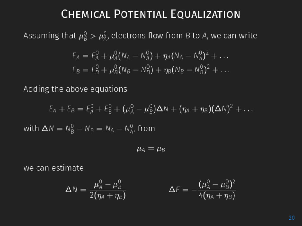 Chemical Potential Equalization Assuming that µ...