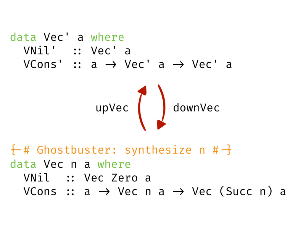 data Vec n a where VNil :: Vec Zero a VCons :: ...
