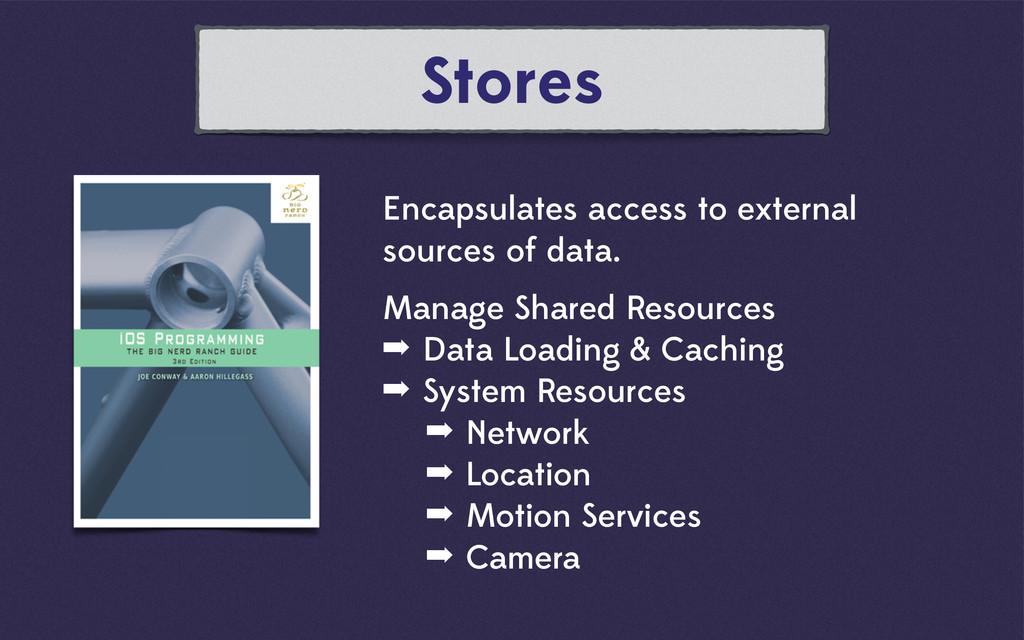 Stores Encapsulates access to external sources ...