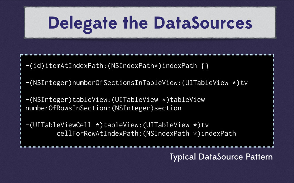 Delegate the DataSources -(id)itemAtIndexPath:(...