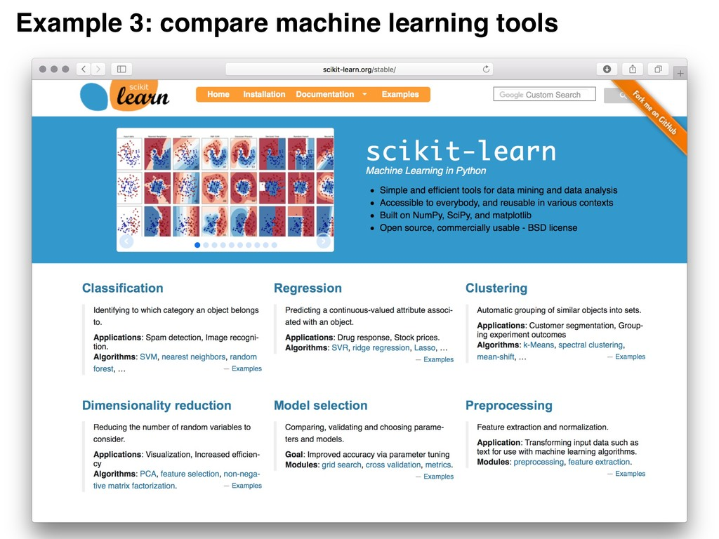 Example 3: compare machine learning tools