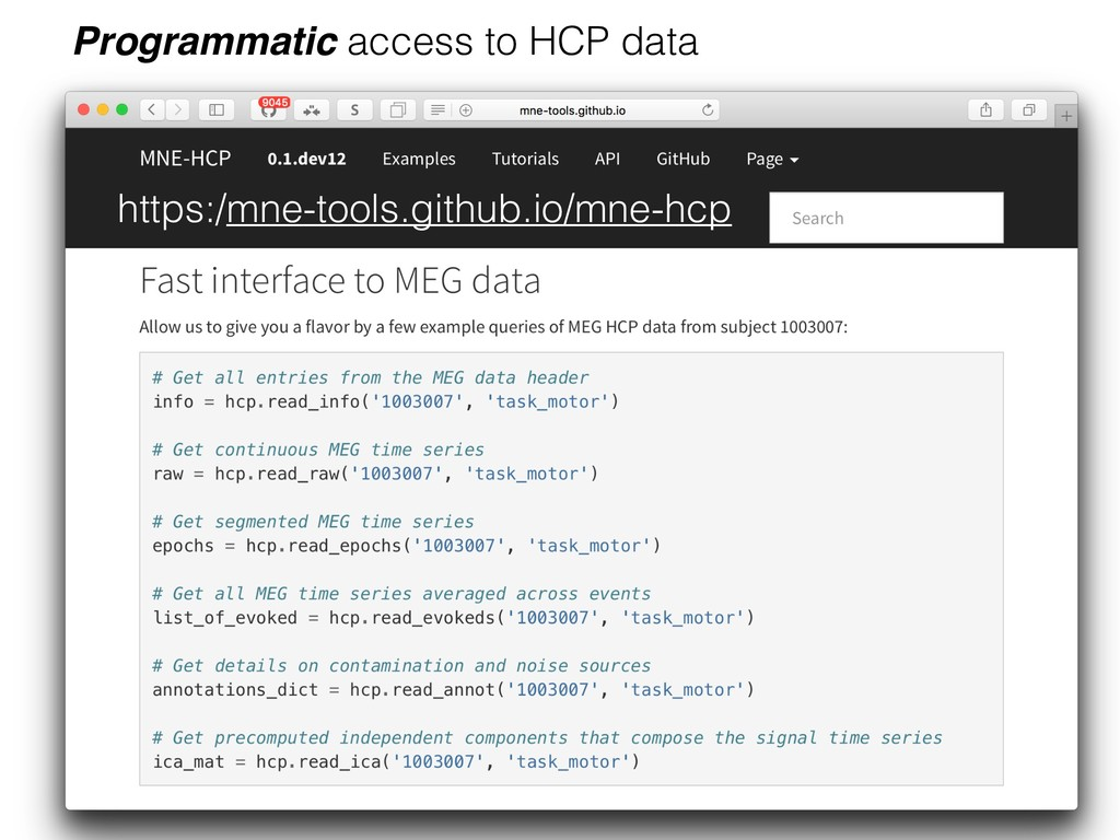 Programmatic access to HCP data https:/mne-tool...