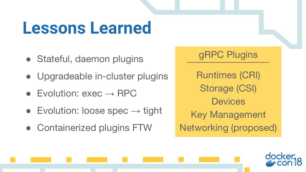 ● Stateful, daemon plugins ● Upgradeable in-clu...