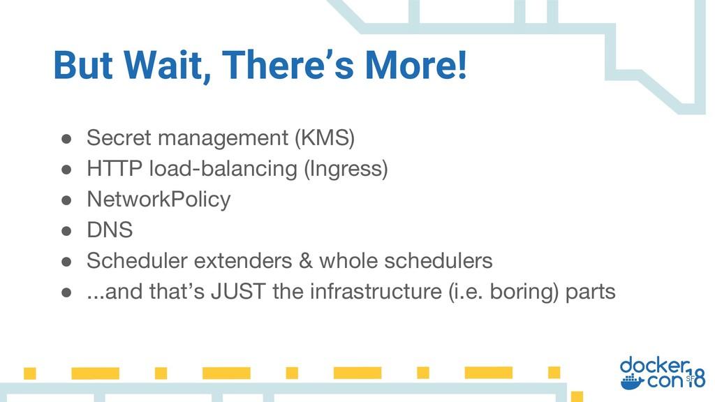 But Wait, There's More! ● Secret management (KM...