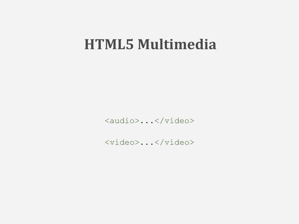 <audio>...</video> <video>...</video> HTML5 Mul...